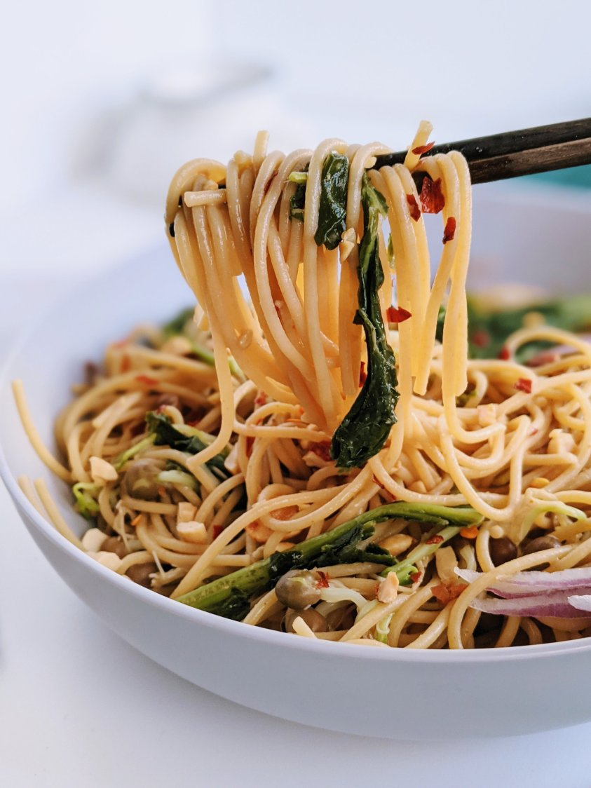 peanut noodles with kale recipe spicy vegan sriracha sauce and peanuts vegetaables gluten free easy homemade weeknight dinner ideas