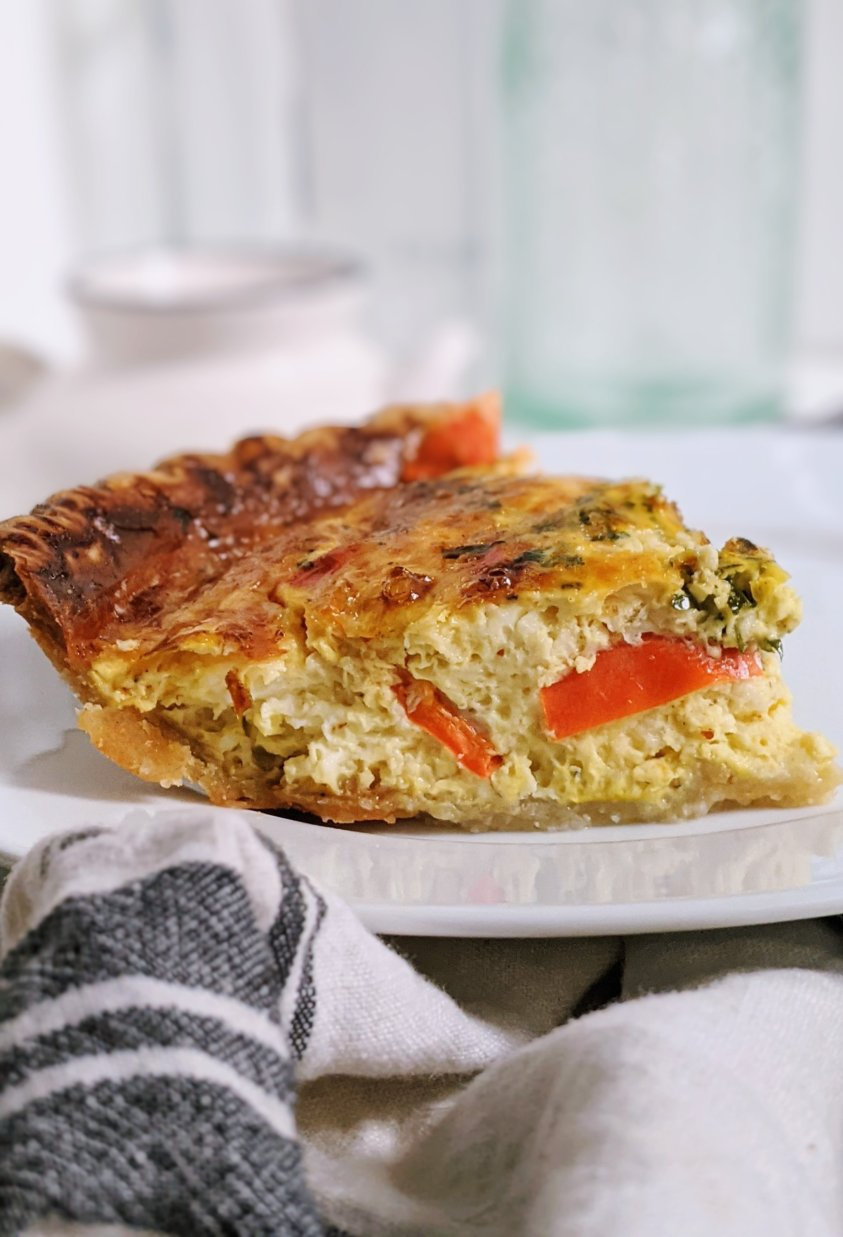 healthy vegetarian quiche meatless recipe for vegetarians healthy plant based quiche vegetarian veggies with frozoen quiche and eggs high protein make ahead breafkast or brunch options meal prep recipes for families