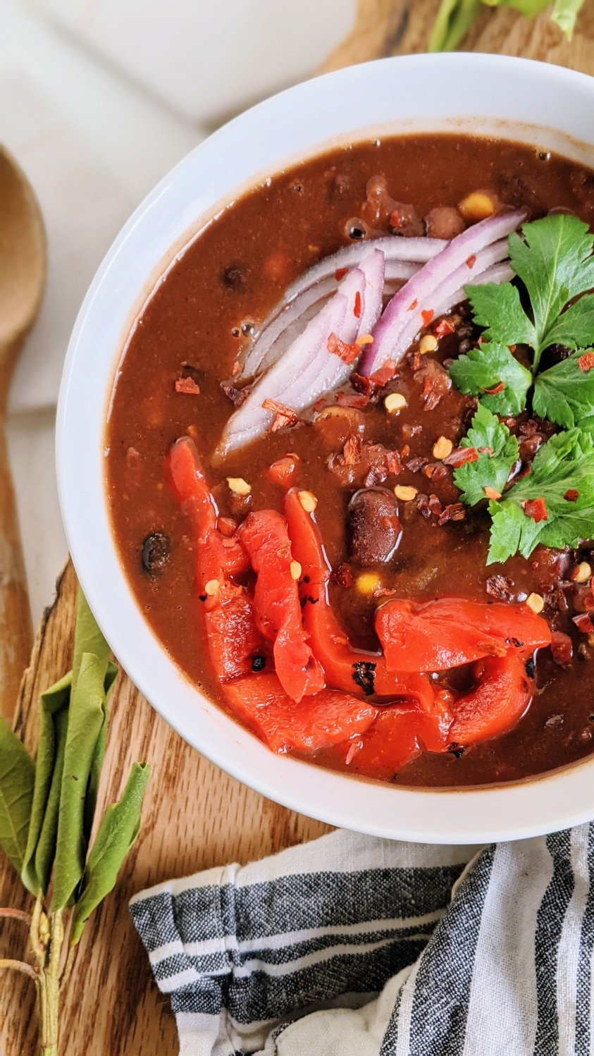 intant pot three bean chili recipe slow cooker crock pot vegan vegetarian meatless chili gluten free healthy high protein veagn chili recipe stove top canned beans