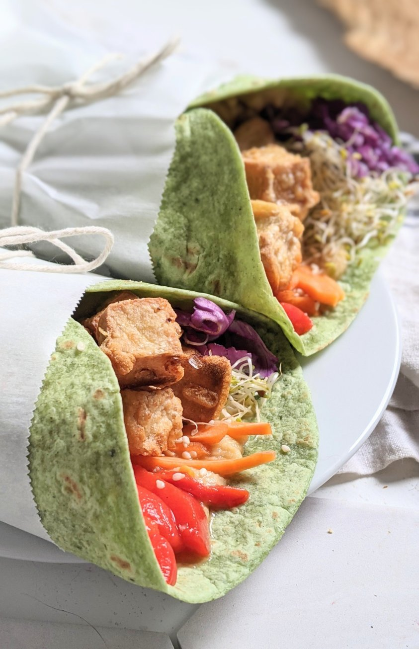 high protein vegetarian lunches lunch ideas recipes healthy vegan sandwiches wraps with crispy tofu filling vegan meal ideas keep you full until dinner plant based protein recipes healthy