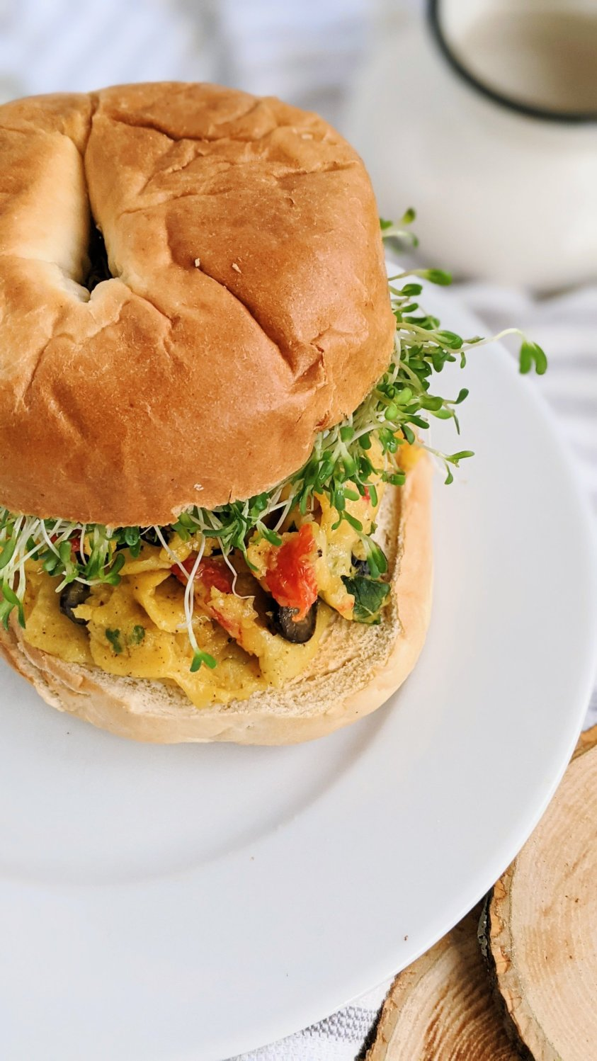 breakfast garbanzo brean recipes vegan gluten free chickpea flour scramble sandwich recipes on a vegan breakfast bagel sandwich healthy high protein gluten free plant based