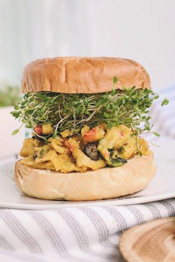 chickpea breakfast sandwich recipe garbanzo beans for breakfast recipe healthy plant based high protein breakfast ideas for families gluten free vegan vegetarian