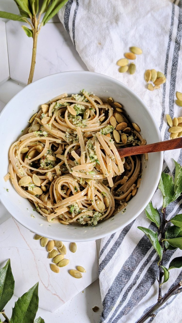 nut free pesto pasta vegan recipes with pumpkin seeds pepitas pesto sauce recipe healthy dairy free italian pasta