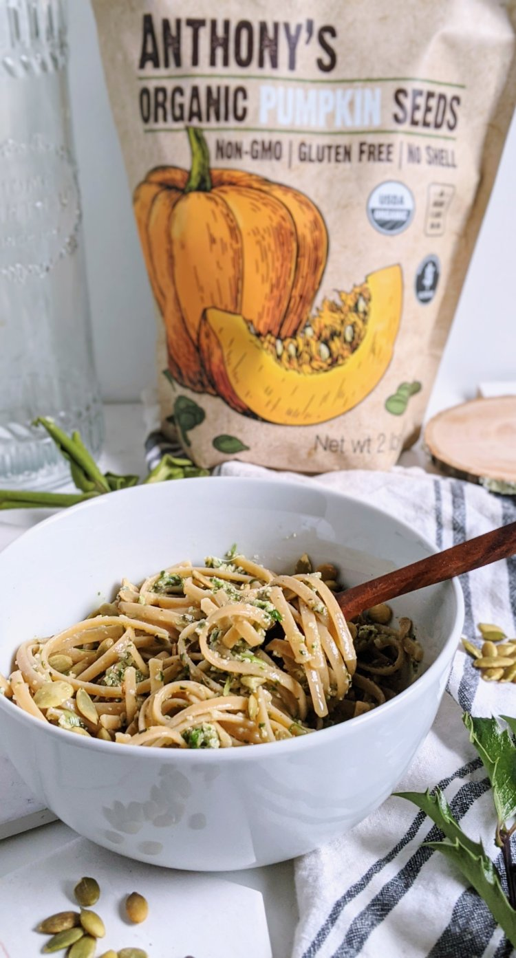 anthony's good pumpkin seeds pepitas pasta ealthy gluten free ut free dairy free pesto recipe with fresh basil herbs parsley kale