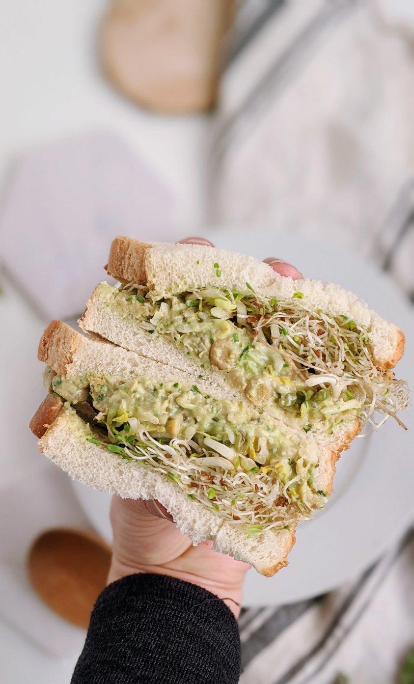 vegan tiktok sandwich recipe pesto chickpea salad sandwich viral healthy plant based gluten free vegetarian no cook dinner ideas for summer low calorie high protein