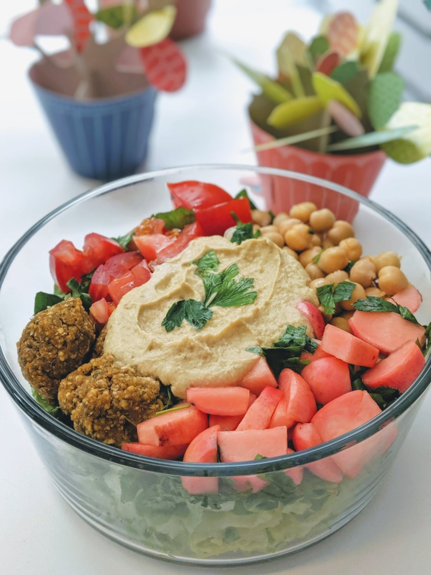 baba ganoush bowls recipe with falafel chickpeas picked radish and tomatoes salad parsley tabbouli mediterranean whole30 recipes