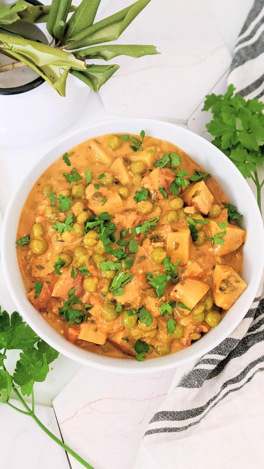 vegetarian aloo matar with coconut milk recipe creamy potato pea curry recipe healthy vegetarian vegan gluten free indian dinner curry recipes