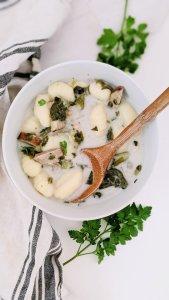 sausage gnocchi soup recipe vegan gluten free dairy free plant based non dairy gnocchi soup coconut milk