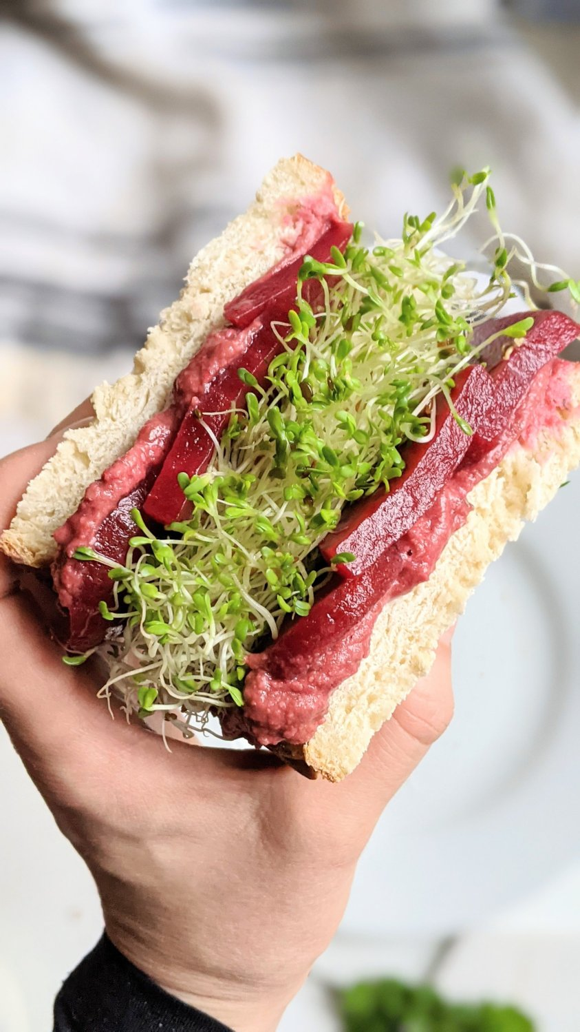 pickled beet sandwich recipe vegan gluten free vegetarian meatless veganuary beet recipes with canned beets healthy lunches with beets sandwich with beet root and hummus