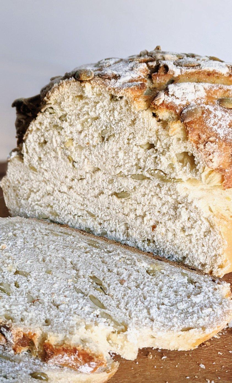 pepita bread with pepitas pumpkin seed bread sourdough bread with seeds recipe vegan sourdough bread with seeds healthy nut free bread crunchy artisanal bread