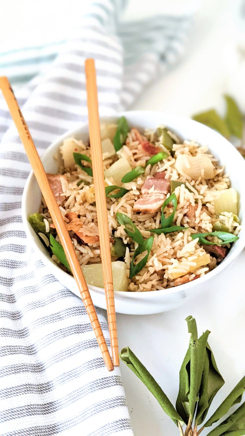 gluten free bacon fried rice with pineapple recipe easy dinners with bacon and rice recipes can be vegetarian or vegan option for fried rice at home with pineapple