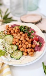 chickpea shawarma recipe vegan gluten free middle eastern chickpea pita recipe healthy plant based protein california beans recipes chickpeas garbanzo bean shawarma