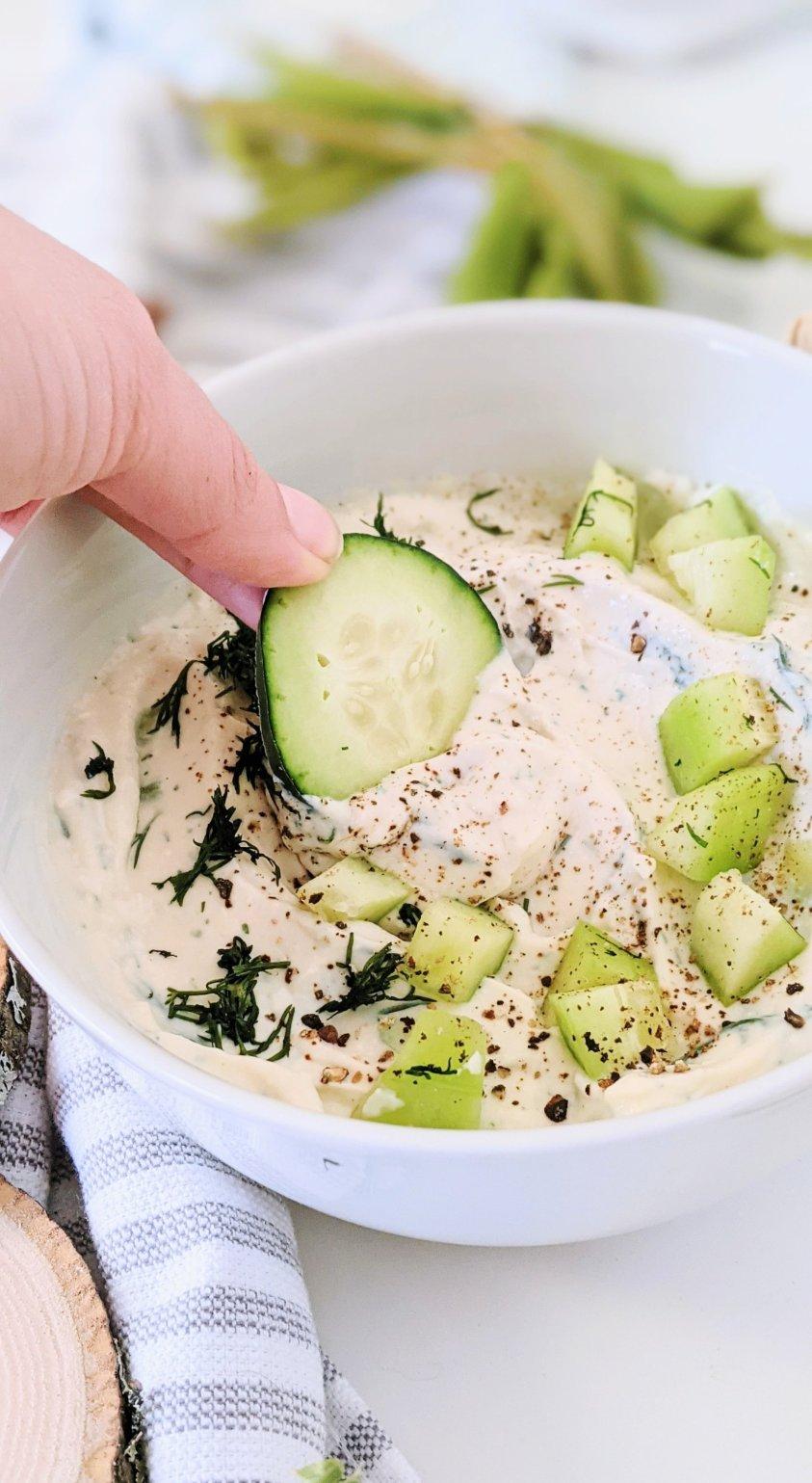 vegan tzatziki dip recipe healthy plant based dairy free yogurt and garlic sauce for falafel pitas wraps naan or shawarma creamy sauce vegan