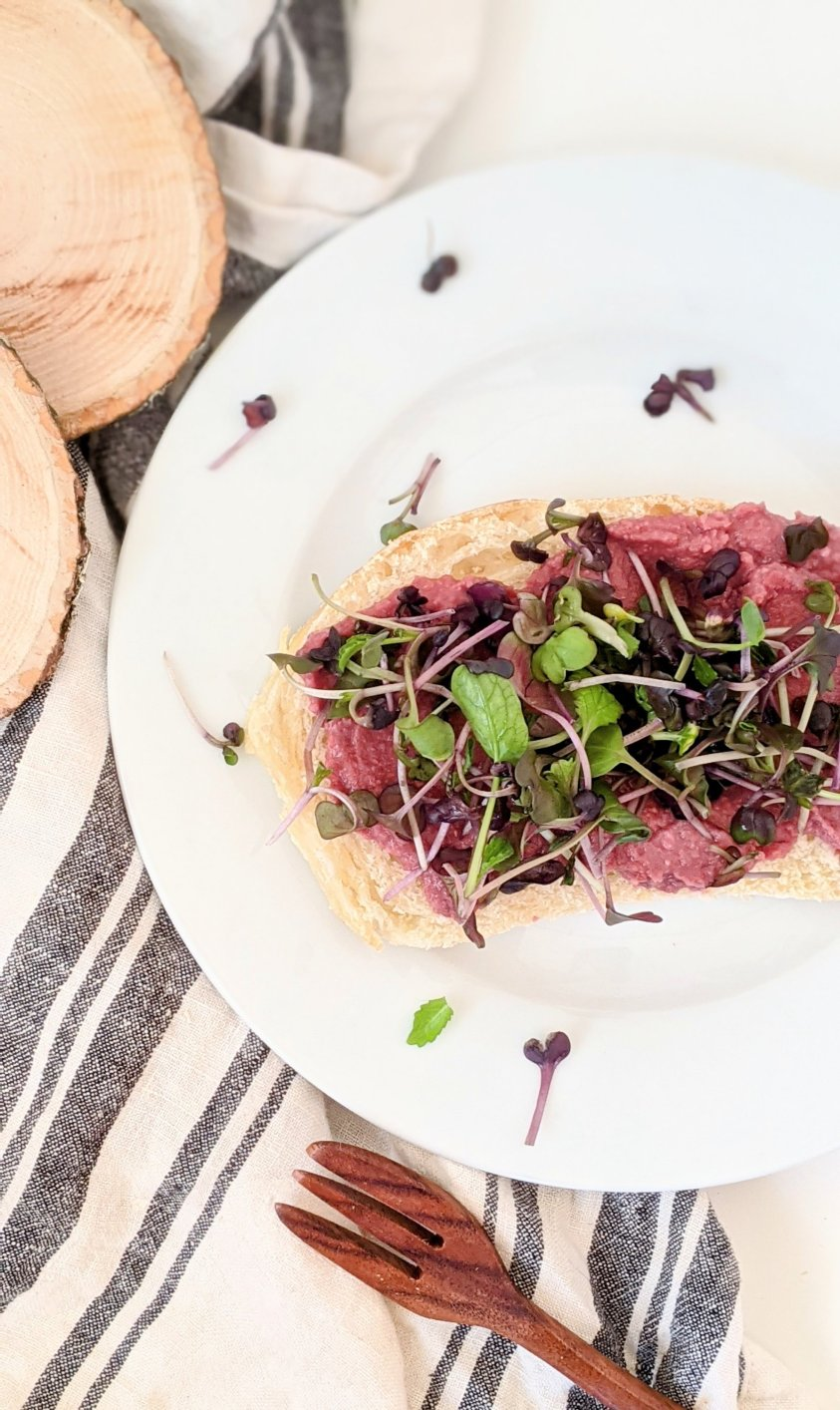 beet hummus tartine recipe open faced sandwich with beet hummus and microgreens healthy sprouts and beets sandwich vegan gluten free breakfast or snack or light lunch tartines