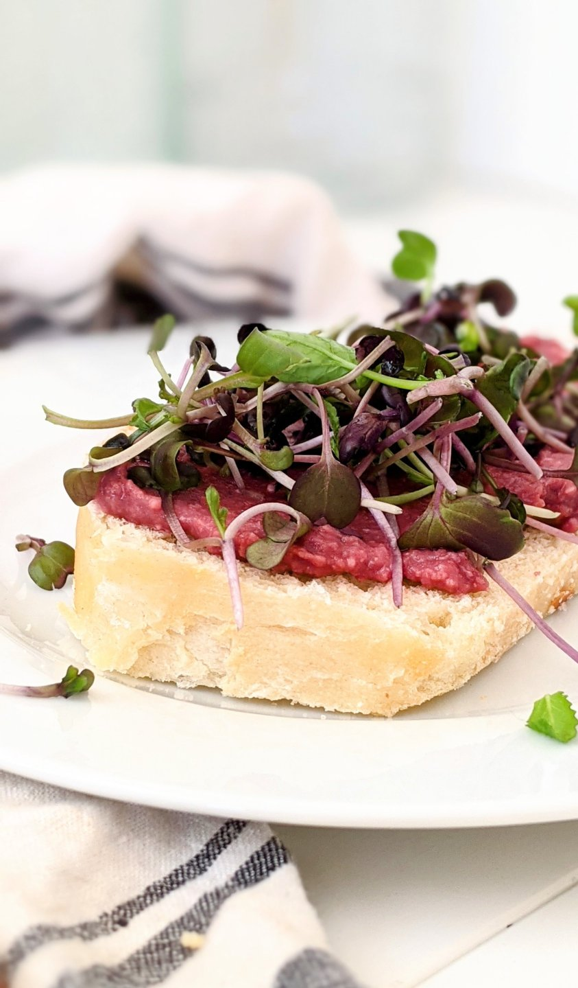 hummus tartine with sprouts and microgreens french beet sandwich french recipes with beetroot healthy breakfast or snack light and high protein french food