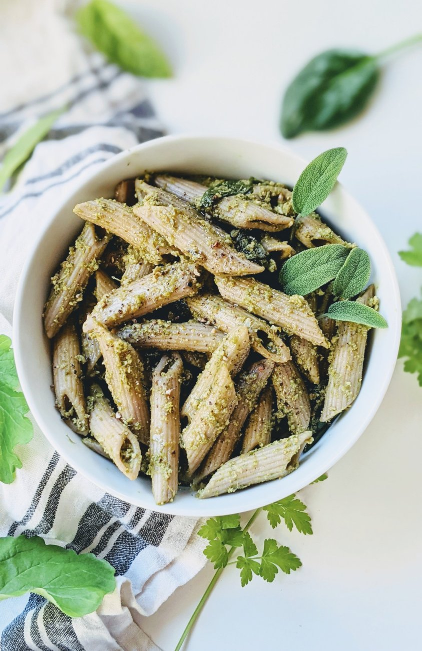 green goddess pesto penne recipe vegan gluten free dairy free pesto sauce for pasta made with herbs parsley basil sage walanuts garlic olive oil and gf breadcrumbs no wheat pesto