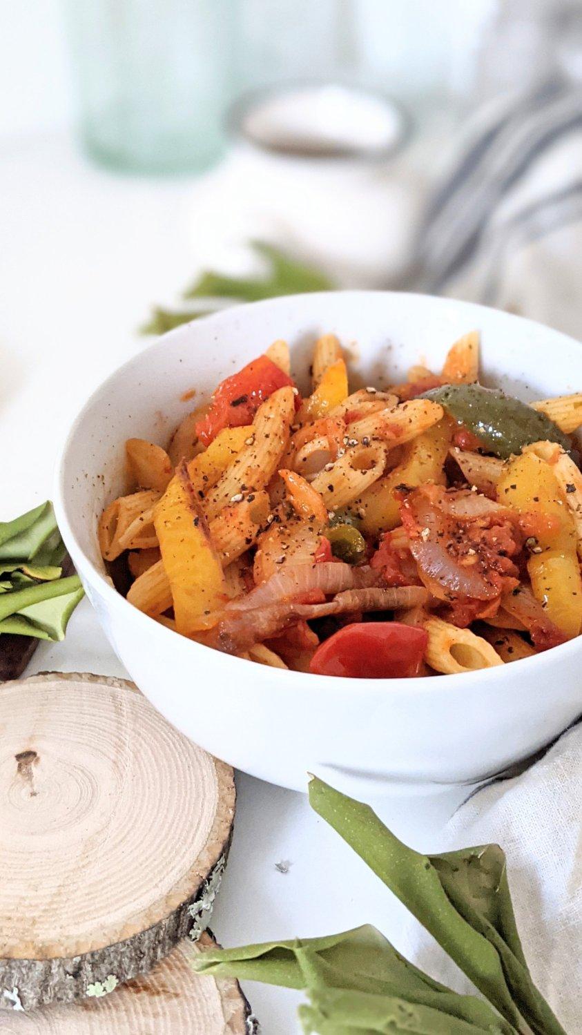 gluten free rasta pasta recipe vegan vegetarian rastafarian pasta bell peppers onions capsicum recipes healthy homemade noodles with sheet pan sauce