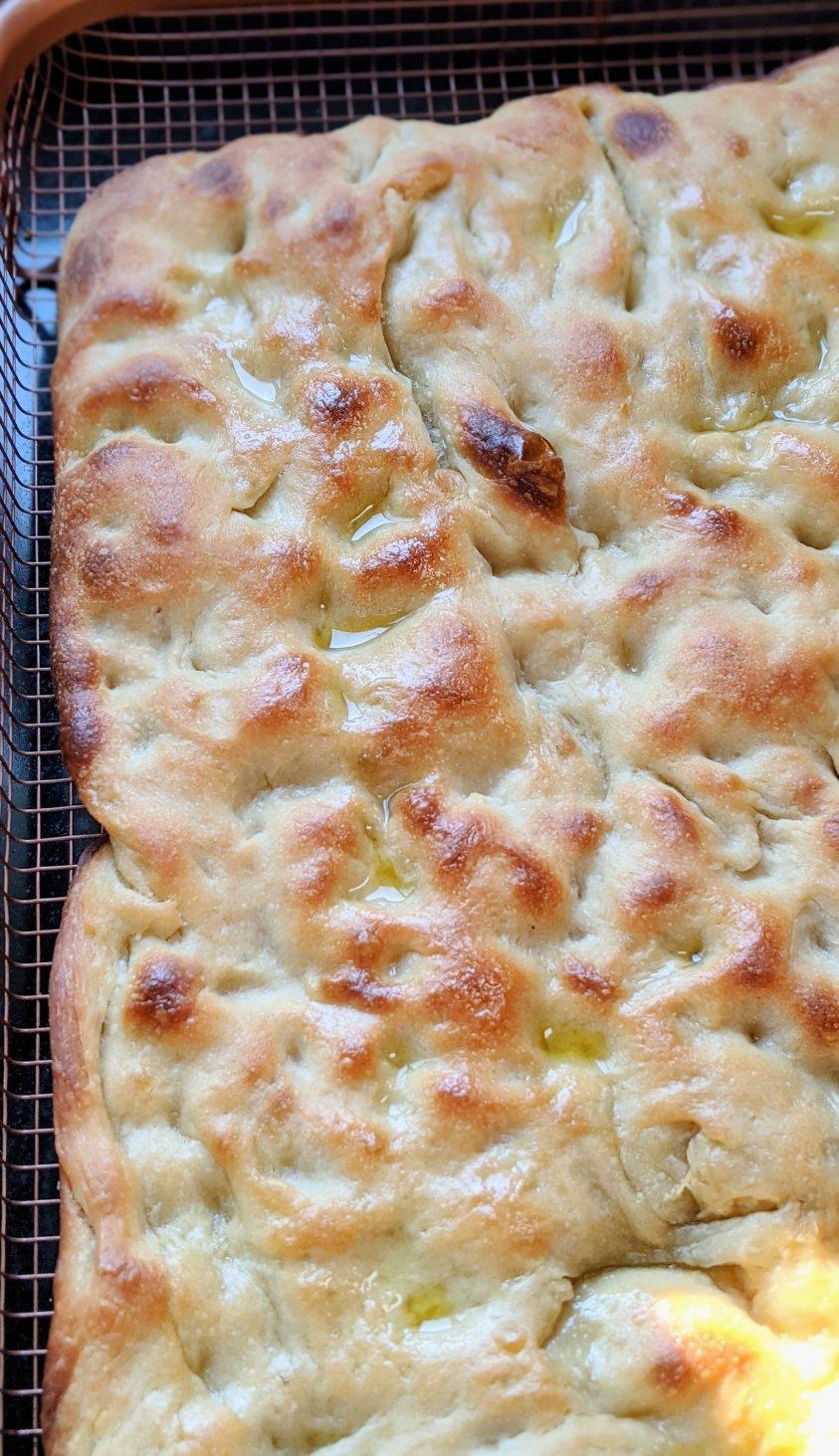 vegan olive oil bread recipe egg free dairy free focaccia bread with olive oil healthy sourodugh overnight focaccia no knead