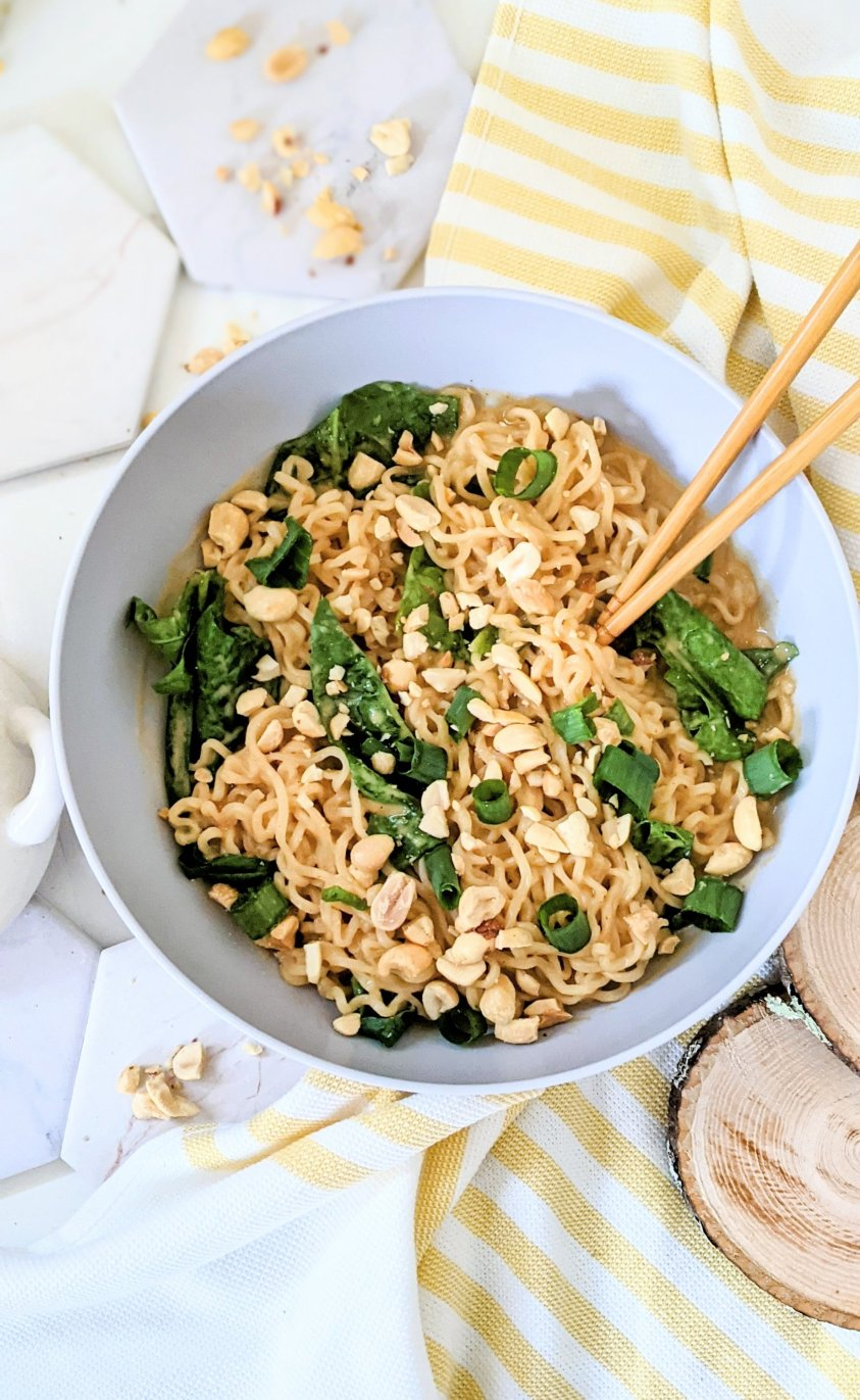 vegan ramen hacks add spinach to ramen add peanuts to ramen turn ramen noodles into creamy thai peanut noodles vegetarian gluten free ramen noods