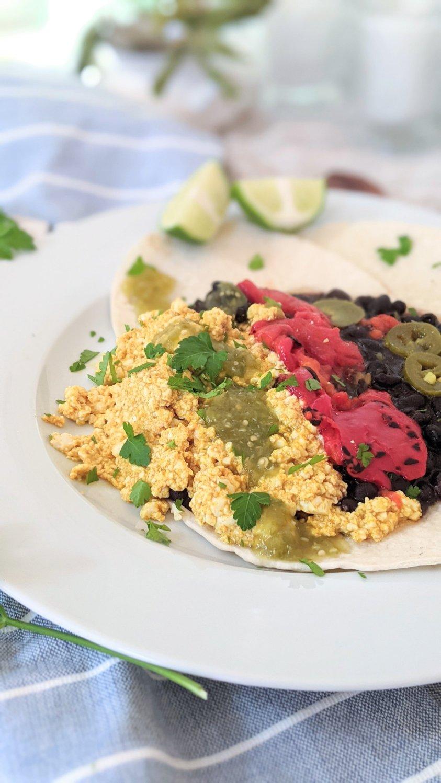 vegan tofu huevos recipe huevos rancheros plant based no eggs healthy huevos eggless southwest brunch recipes tortilas tomatillo salsa vegan sour cream recipes