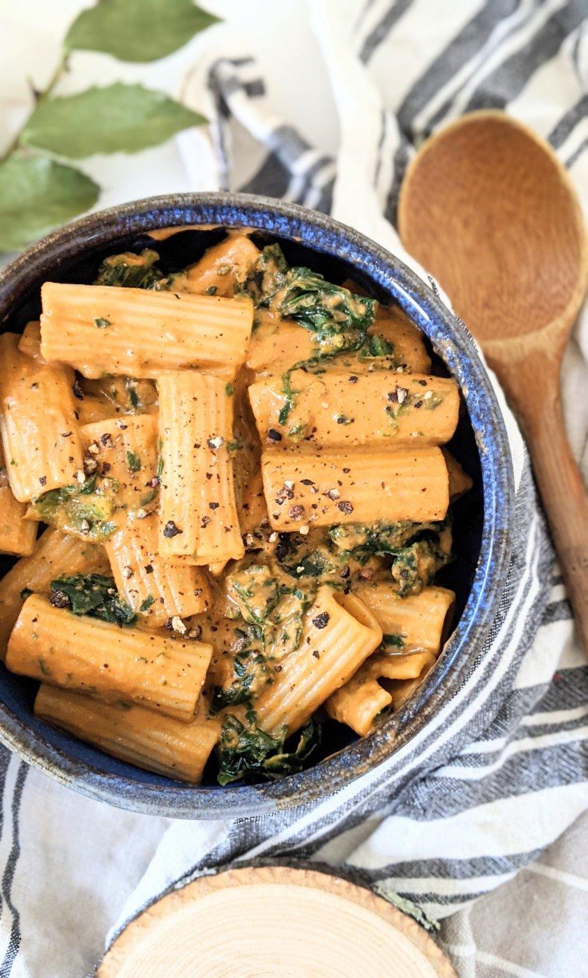 creamy vegan tomato spinach pasta recipe healthy inexpensive pasta recipes vegan vegetarian plant based creamy tofu tomato sauce recipe healthy italian recipes plant based
