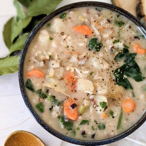 creamy potato wild rice soup recipe vegan gluten free plant based rice and potato soup vegetarian autumn recipes soups for fall vegan meatless soup recipes cozy