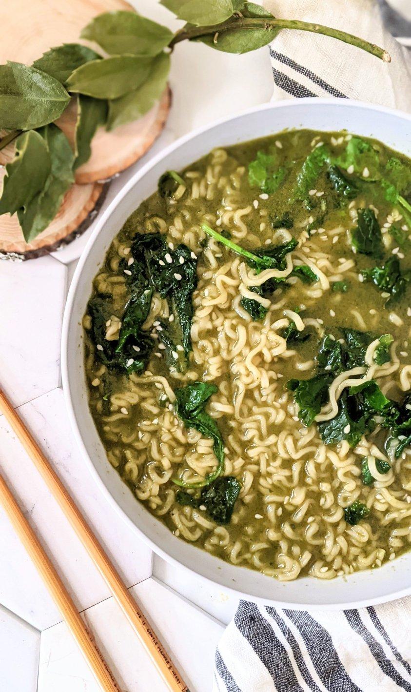 thai basil ramen noodles vegan gluten free instant ramen soup hacks with fresh vegetables add thai basil pesto ramen noodle soup vegetarian meatless pantry noodles recipe