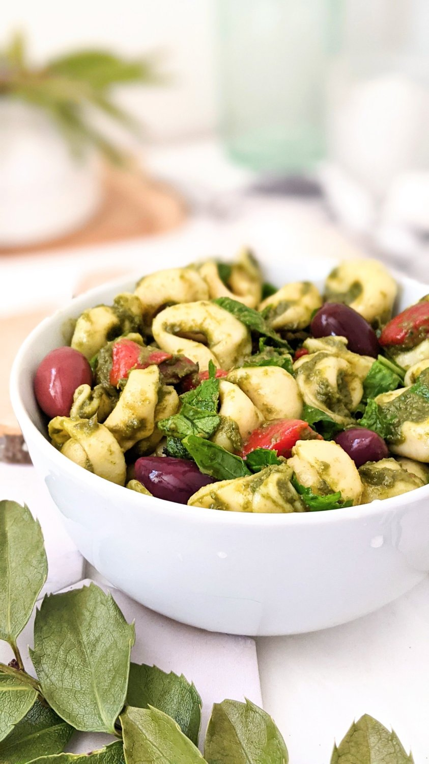 meatless tortellini salad with pesto dressing healthy vegetarian summer side salads entertaining recipes in half hour pasta salad recipes healthy basil dressing
