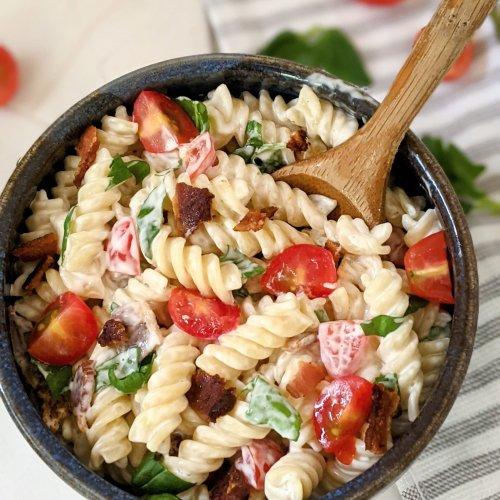 blt ranch pasta salad recipe vegetarian summer pasta salads summer side dishes for entertaining recipes for cookout vegan blt pasta salad recipe