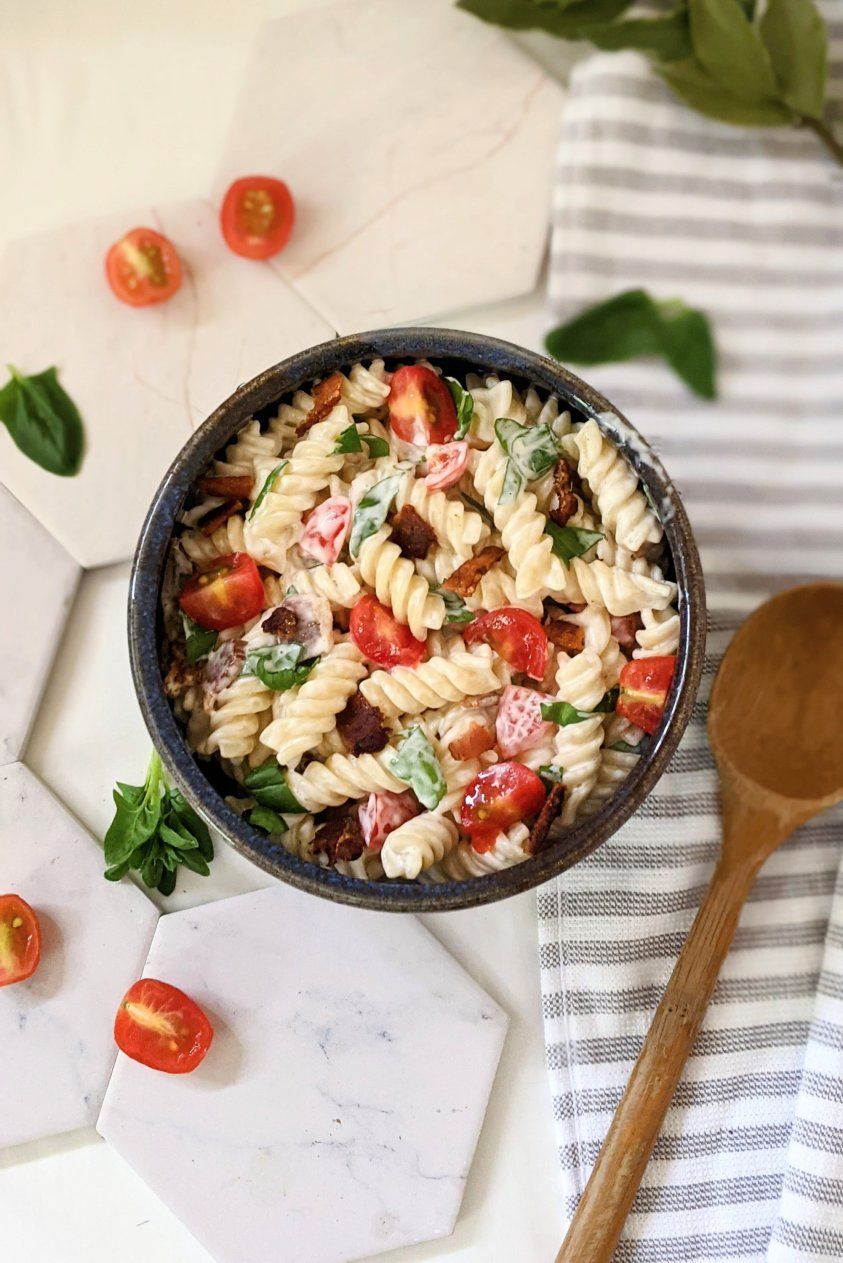 creamy blt pasta salad with ranch dressing vegan gluten free vegetarian and dairy free options for bacon lettuce and tomato pasta salad for summer bbq recipes