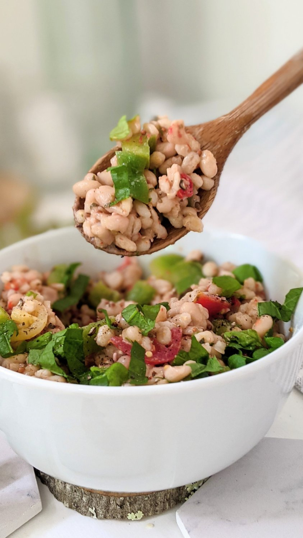 costco bean barley salad recipe copycat tuscan bean salad cosco recipe healthy plant based barley salad with pesto dressing vegan gluten free vegetarian plant based healthy summer salads