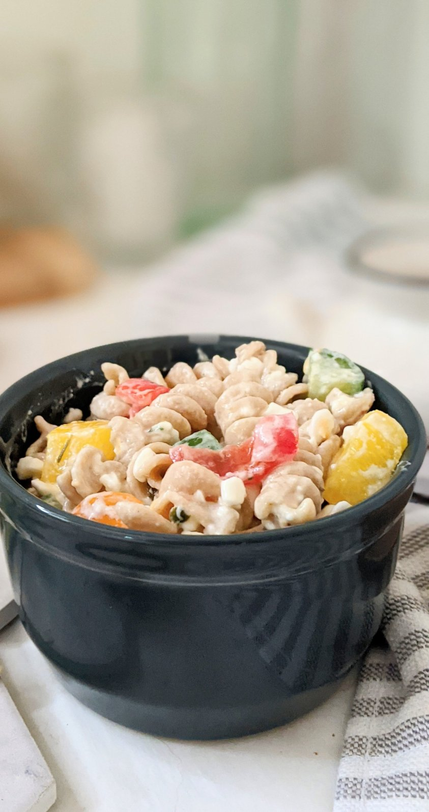 creamy cottage pasta salad with gluten free rotini and summer garden tomatoes and cucumbers and bell pepper and cottage cheese salad with a lemon italian dressing tangy pasta salads no mayo