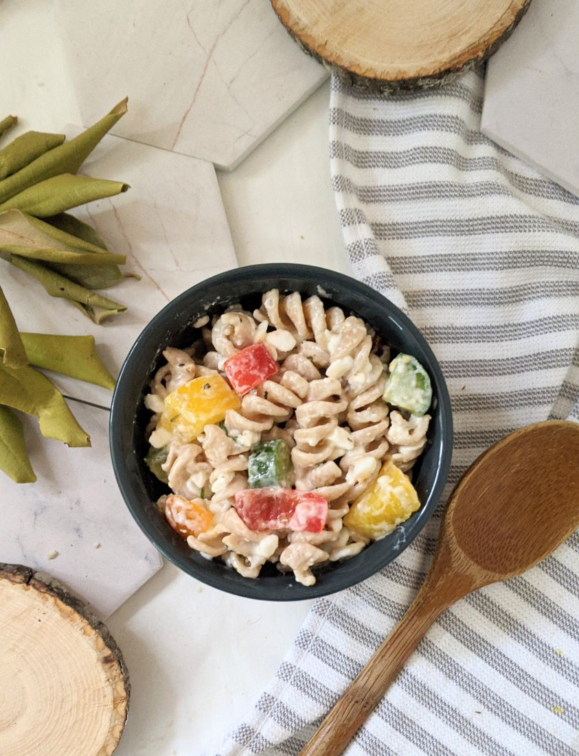 vegetarian creamy pasta salad without mayo recipe gluten free pasta salads for summer side dishes no mayo with high protein pasta and cottage cheese recipes