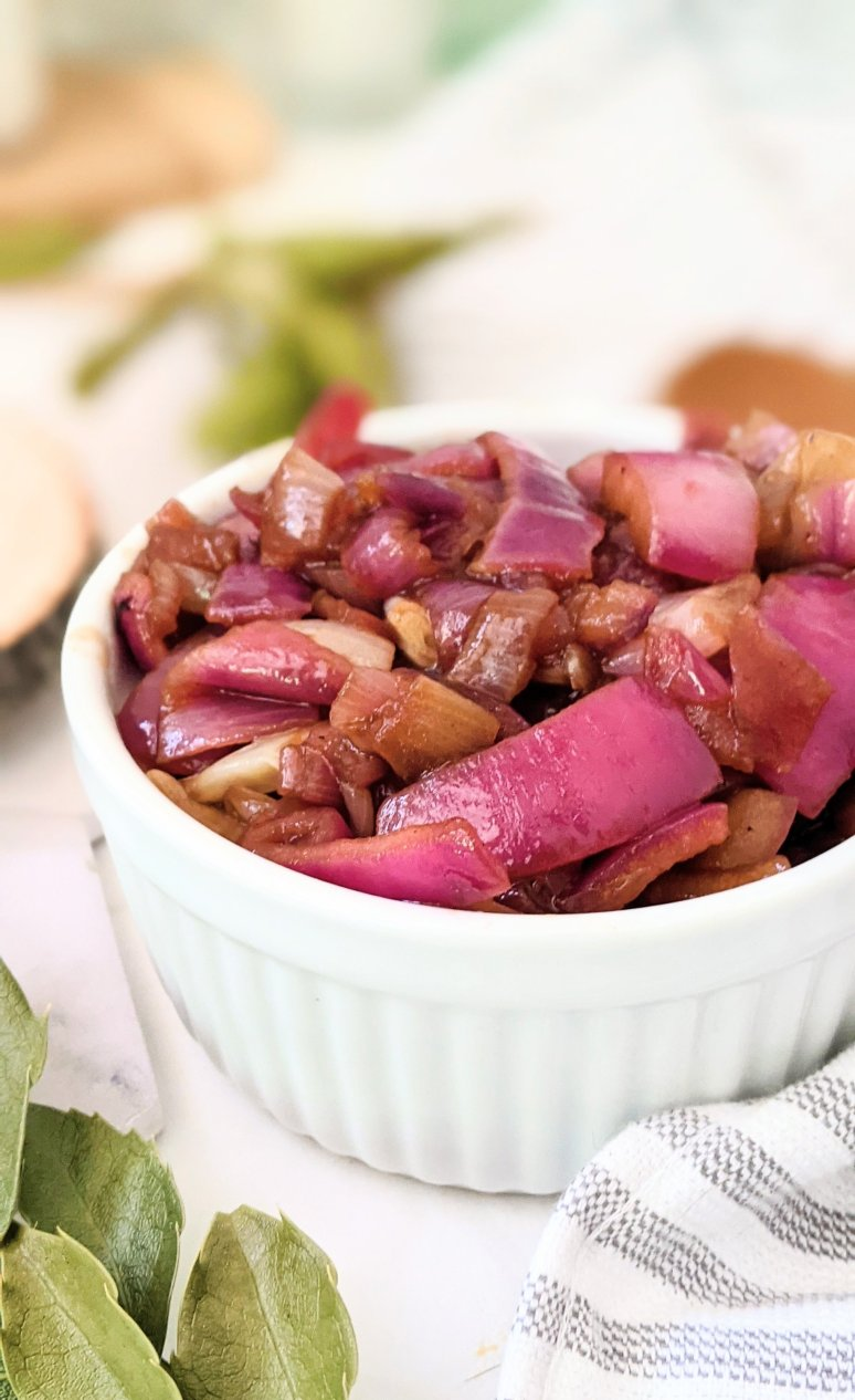 a white dish with caramelized red onions with worcestershire sauce and white wine and salt and pepper and olive oil recipe easy half hour soft onions