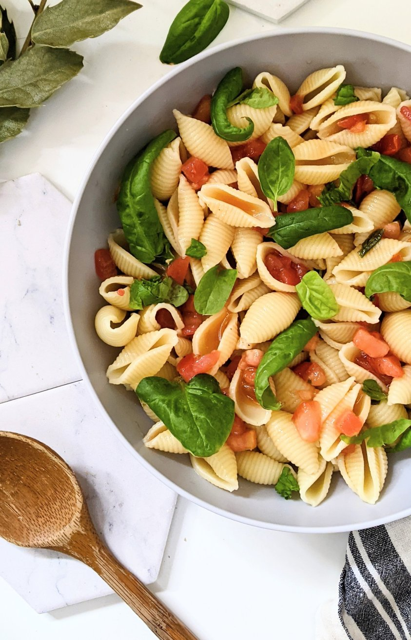 gluten free bruschetta pasta salad recipe with fresh tomatoes for dinner side dishes with cherry tomatoes tomato recipes with garden produce healthy summer tomato recipes pasta