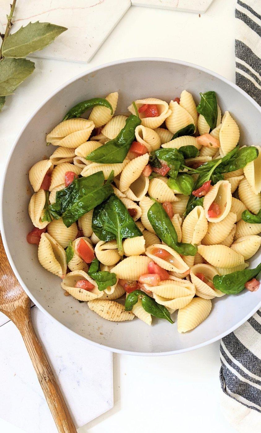 bruschetta pasta salad vegan gluten free plant based summer tomato recipes vegan side dishes with garden tomatoes healthy raw tomato recipes for pasta