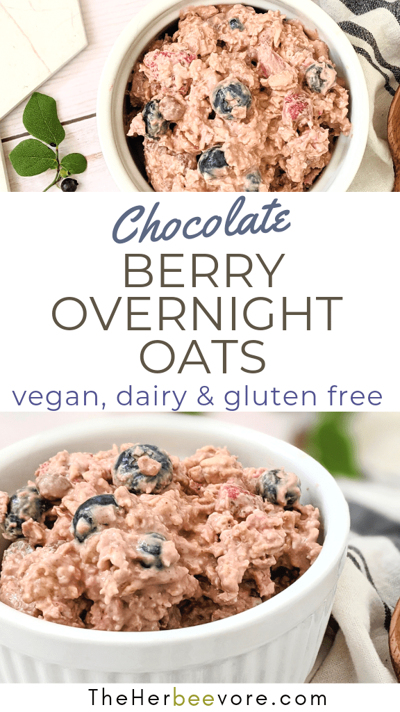 vegan berry chocolate overnight oats recipe gluten free no cook breakfst recipes with strawberries blutberries cacao powder anti-oxidants and oats