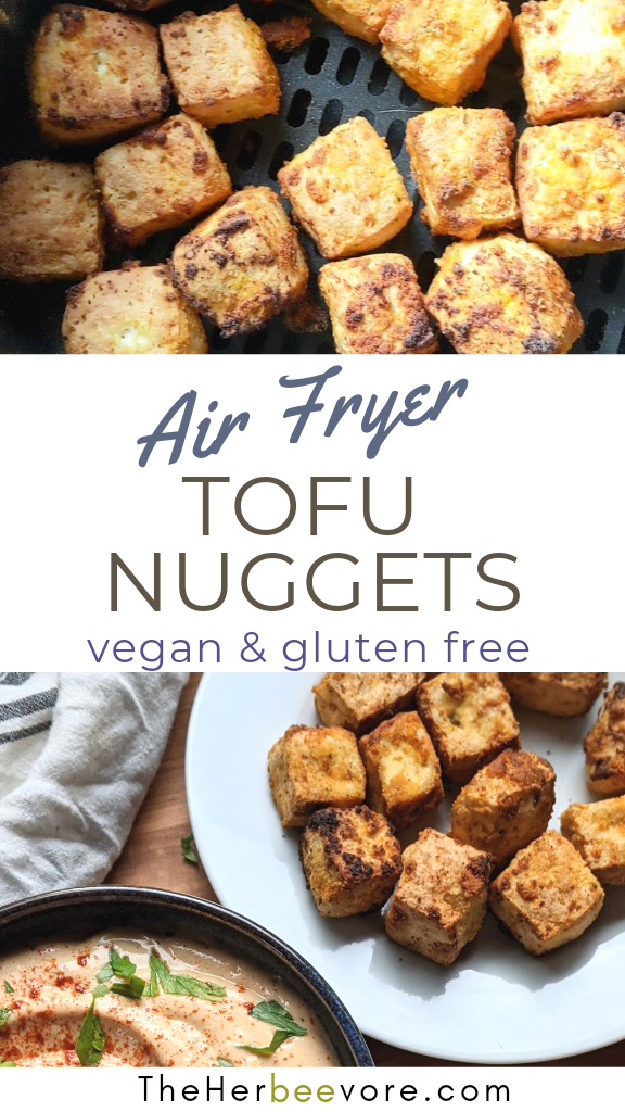 airfryer tofu nuggets recipe vegan gluten free plant based high protein recipes for kids and adults healthy low calorie tofu recipes air fried tofu