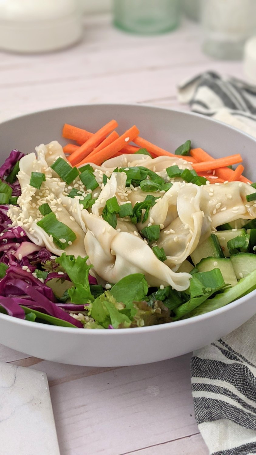 plant based dumpling salad recipe salads with pot stickers how to eat leftover pot stickers in a salad vegan gluten free filling lunch ideas for work or school