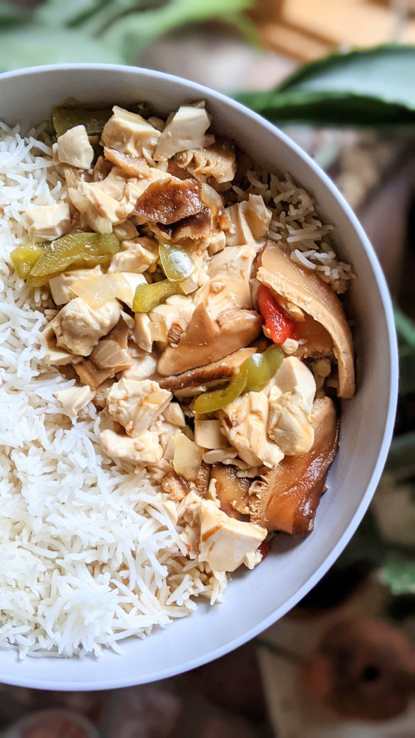 miso tofu recipe easy with silken tofu bell peppers dried mushrooms shiitake mushrooms tamati gluten free soy sauce and agane syrup naturally sweet chinese food no added sugar recipes vegan