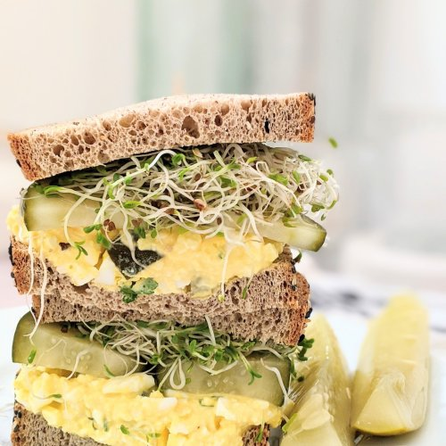 dill pickle egg salad sandwich recipe keto low carb egg salad with pickles dill pickles on a sandwich and also sprouts on keto certified bread