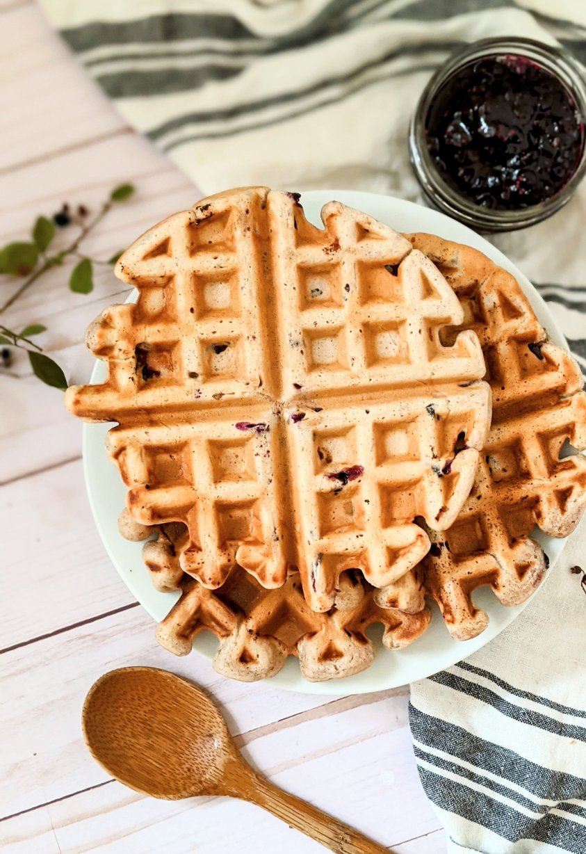 wild huckleberry recipes for red or black huckleberries for breakfast in waffles or pancakes with fresh maple syrup and homemade summer berry jam without pectin