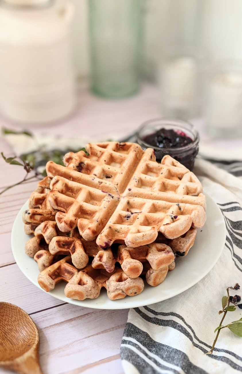 plant based Belgian waffles with huckleberries and pancake batter with huckleberries for easy weekend brunch recipes for the family