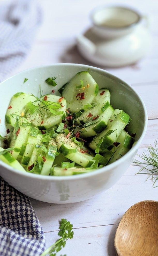 cucumber and herb salad recipe vegan gluten free summer cucumber salad recipes for potlucks recipes for bbq cookout cucumber salads with parsley dill chili flakes and basil
