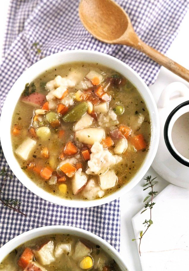 one pot vegan chicken and dumplings soup recipe healthy vegan gluten free one-pot one pan recipes that cooks in the same pot easy clean up cooking make ahead batch cook meal prep ideas