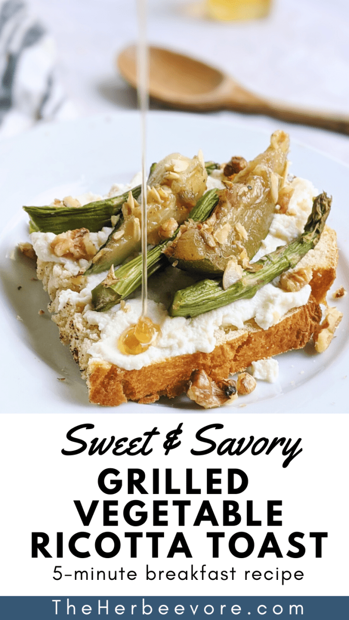 sweet and salty breakfast recipes savory ricotta toast honey and grilled asparagus for breakfast with sauteed zucchini squash healthy yummy ways to eat vegetables for breakfast on ricotta cheese toasts