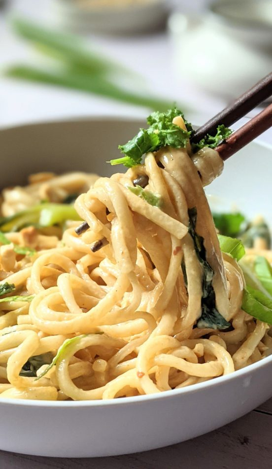 creamy peanut udon noodles with kale bok choy and green onion healthy peanut udon stir fry recipe noodles in peanut sauce thick noods for dinner