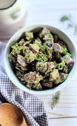 purple potato salad no mayo with herbs green onion parsley and dill vegan gluten free vegetarian purple potatoes