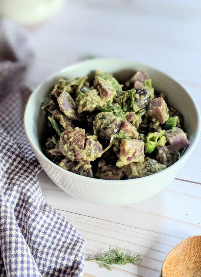 purple potato salad recipe with blue potatoes no mayo fancy potato salad without mayonnaise recipe