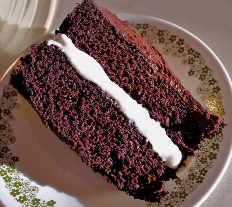Triple Chocolate Fudge Cake with White Chocolate Mousse Filling for